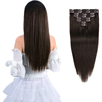 """12"""" Remy Clip in Hair Extensions Human Hair Brown for Women Beauty - Long Silky Straight 8pcs 20clips Real Hair Extensions Clip In Human Hair (12 inch 100g #2 Dark Brown)"""