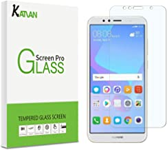 [2 Pack] Huawei Y6 2018 Screen Protector, KATIAN HD Clear Protector [Anti-Scratch] [Anti-Fingerprint] [No-Bubble] [Case-Friendly], 9H Hardness Tempered Glass Screen Film for Huawei Y6 2018