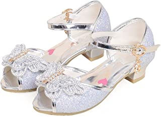 Girls Low-Heels Bling Girls Dress Shoes Bow Princess Mary Jane Sandals