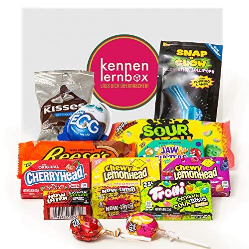 Süßes & Saueres | Kennenlernbox mit 14 beliebten Süßigkeiten aus Amerika | Geschenkidee für besondere Anlässe wie Geburtstage