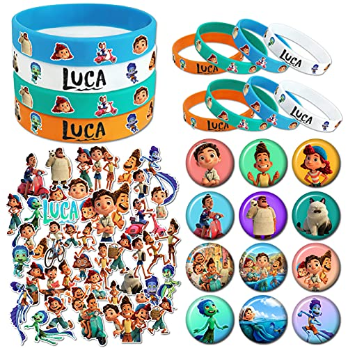 Birthday Party Favors for Kids, Birthday Party Supplies Set Includes Bracelets, Stickers, Button Pins for Theme Party Decorations