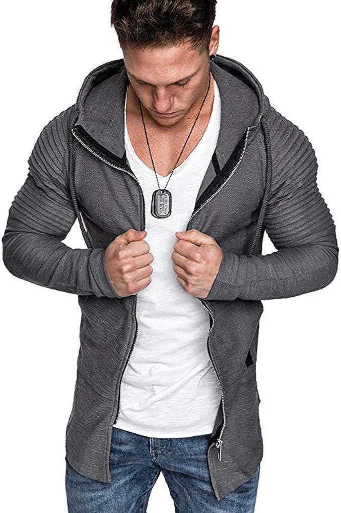 Men's Hoodies Pullover Clearance, Mens Casual Long Sleeve Solid Zipper Pleated Raglan Sports Outwear Hooded Sweatshirts