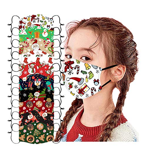 10 Pack Kids Christmas_Face_Masks_Reusable Bandanas with Adjustable Earloops Printed Protection Cover for Xmas Party School Outdoor (Multicolor #7, 10 PC)