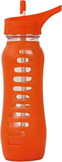 EcoVessel Surf Glass Water Bottle with Protective Silicone Sleeve and Flip Straw Top, 22 Ounces