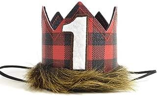 iMagitek Lumberjack Crown for Baby 1st Birthday Party, Lumberjack Baby First Birthday Hat for Lumberjack Themed Birthday Party Supplies