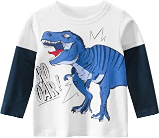 TLAENSON Toddler Boys Long Sleeve T-Shirts Top Crew Neck Cotton Dinosaur Tee Shirts