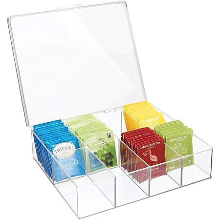 mDesign boîte de rangement à 8 compartiments – organiseur de cuisine en plastique pour thé, épices, etc. – boîte à thé avec couvercle pour placard, plan de travail ou cellier – transparent