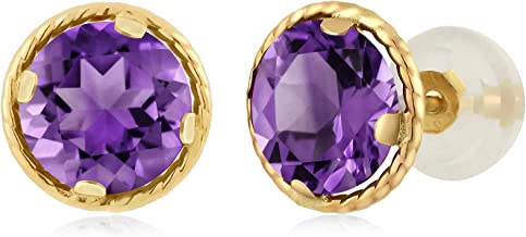 Gem Stone King 14K Yellow Gold Purple Amethyst Stud Earrings For Women Gemstone Birthstone 2.00 Cttw Round 6MM