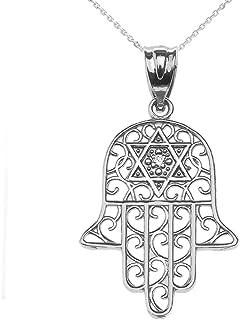 Jewish Jewelry by FDJ Diamond Hamsa Hand Sterling Silver Pendant Necklace