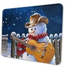 Ye Hua Western Christmas Snowman Toca la Alfombrilla de ratón para Juegos de Guitarra extendida con Bordes cosidos, 8.3 x 10.3 in
