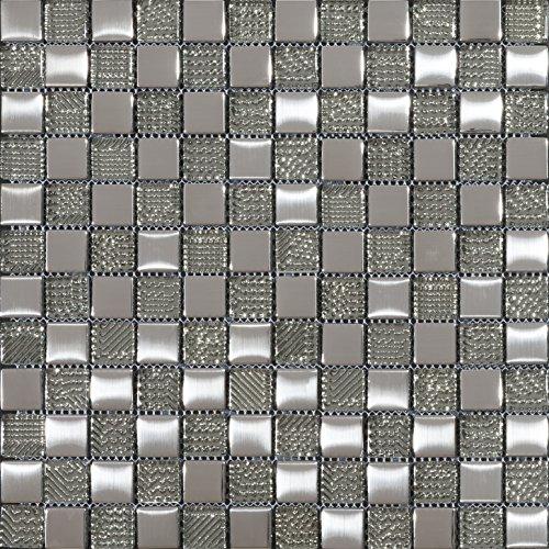 Mosaico de Vidrio en Malla LGX-Chess , Plata, 8 mm, 30 x 30 cm