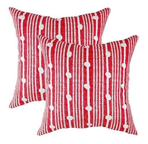 TreeWool - Pack de 2 - Diseño de Lunares Acento Decorativo Fundas de cojín, 100% algodón (45 x 45 cm / 18 x 18 Pulgadas, Rojo)