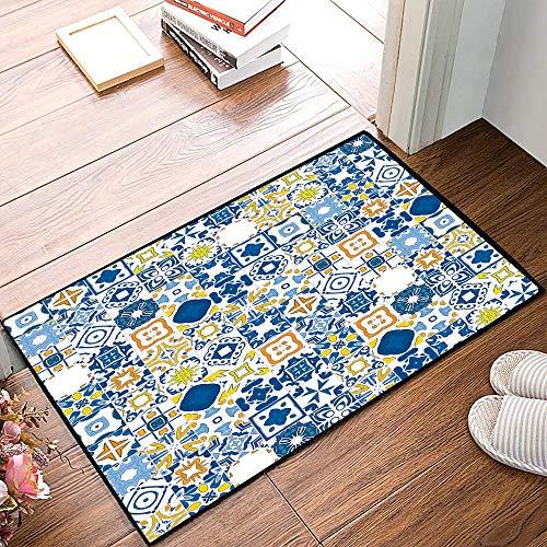 Rutschfester Badvorleger, Gelb und Blau, Mosaik Portugiesischer Azulejo Mediterraner Arabeskeneffekt, Violetter Blauer Senf W,Mikrofaser Duschvorleger Teppich für Badezimmer Küche Wohnzimmer 40x60 cm