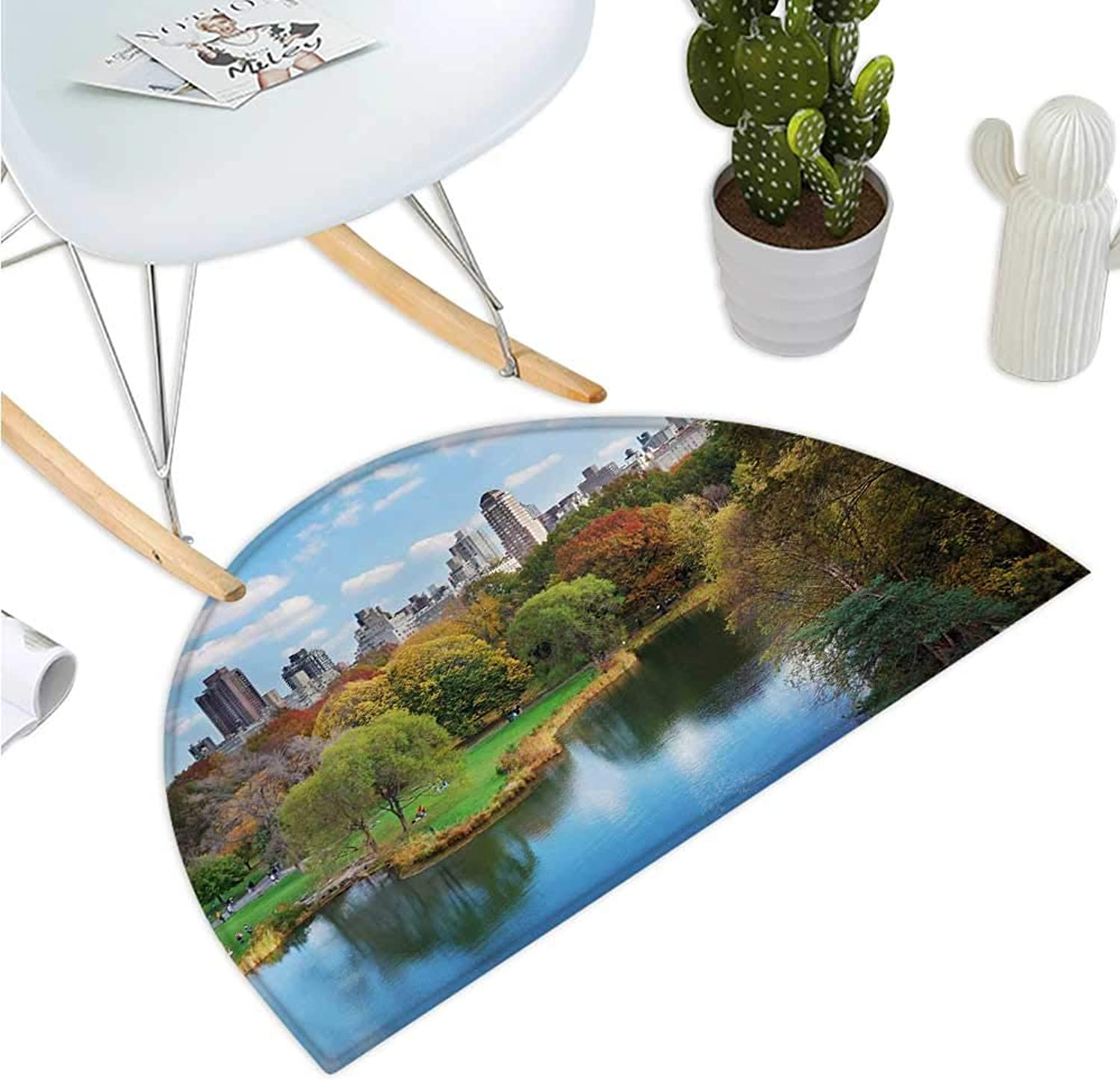 York Semicircular Cushion Central Park in Autumn with Lake Trees and Manhattan USA American Nature Image Entry Door Mat H 35.4  xD 53.1  Multicolor
