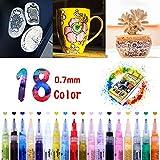 Wrei Rotuladores De Pintura Acrílica, 18 Colores Marcadores Rotuladores para Pintar en Piedra,DIY Art, Cerámica, Porcelana, Vidrio, Guijarros, Tela, Lienzo, Madera y Diseño De Tazas Personalizadas