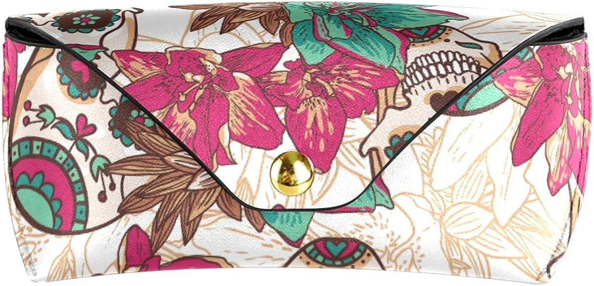 Portable Multiuse Sunglasses Case Eyeglasses Pouch Office Flower Headdress Skull Halloween Pattern PU Leather Goggles Bag