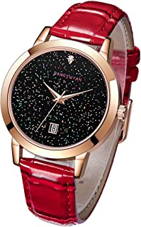Fashion Watches 1661 Quartz Wrist Watch Starry Sky Dial with Calendar & Leather Strap/Band & Alloy Case Watch for Women