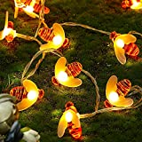 13.1 FT 40 LED Honeybee String Lights Battery Power Honeybee Fairy String Lights Novelty Bee String Lights for Party Wedding Garden Decoration