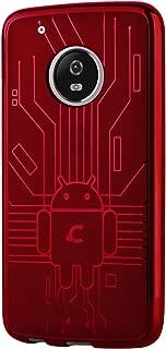 Cruzerlite Moto G5 Plus Case, Bugdroid Circuit TPU Case for Motorola Moto G5 Plus - Retail Packaging - Red