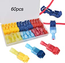 FULARR 60Pcs (30 Pairs) Premium T-Tap Wire Terminals, Self-Stripping Quick Splice Wire Connectors and Fully Insulated Male Spade Terminals Connectors Kit –– Red 20Pcs, Blue 20Pcs, Yellow 20Pcs