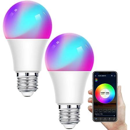 Bombilla LED Inteligente WiFi,Regulable 12W E27 Bombilla LED Luz,RGB Multicolor Bombilla Funciona con Alexa,Google Home,IFTTT,Control Remoto por Aplicación,2 Pack[Clase de eficiencia energética A+]