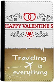Red Black Happy Valentine's Day Traveling quato Passport Holder Travel Wallet Cover Case Card Purse