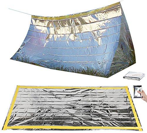 Semptec Urban Survival Technology Notzelt: Survival-Set mit Notfall-Zelt und Folien-Schlafsack (Rettungsdecken)