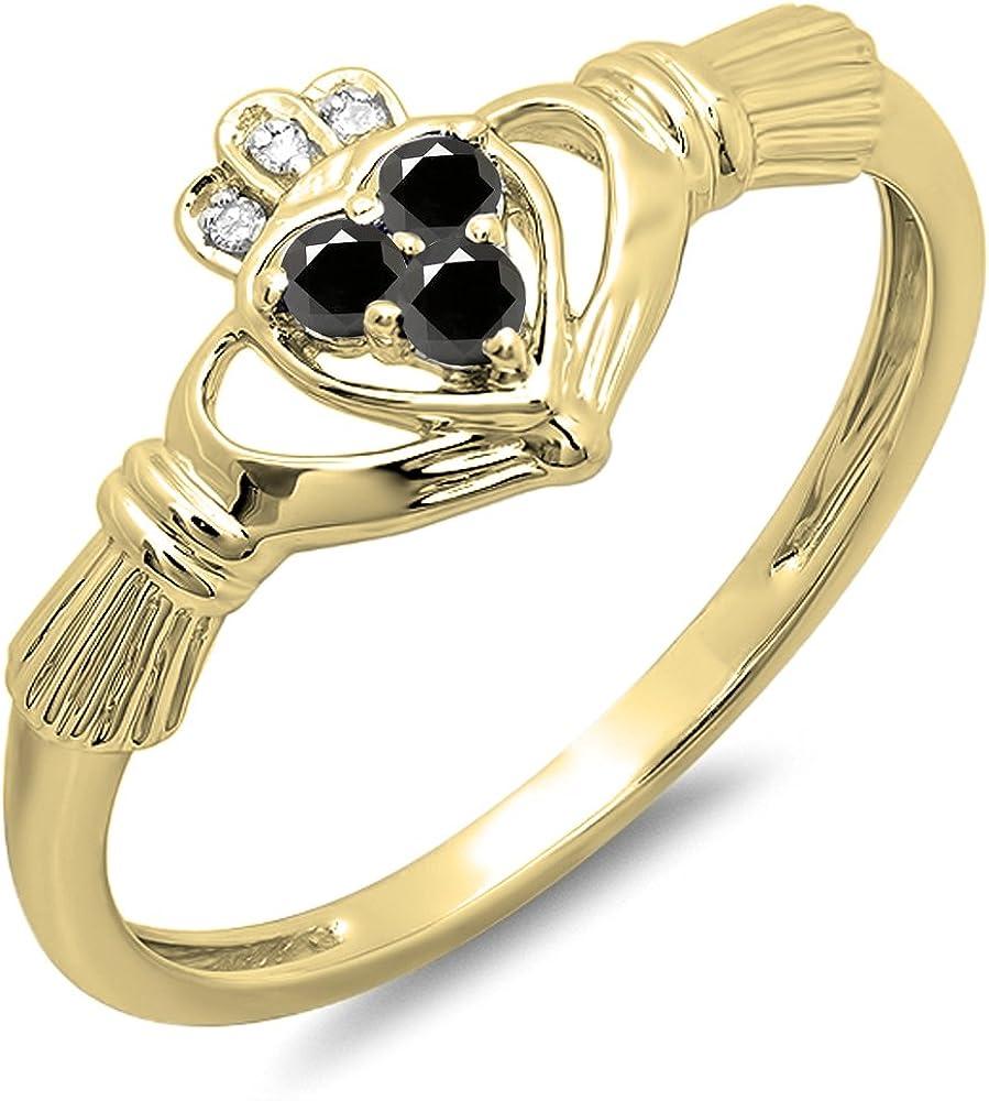 Dazzlingrock Collection 0.15 Carat (Ctw) 10K Gold Round Black & White Diamond Ladies Promise Heart Shape Ring