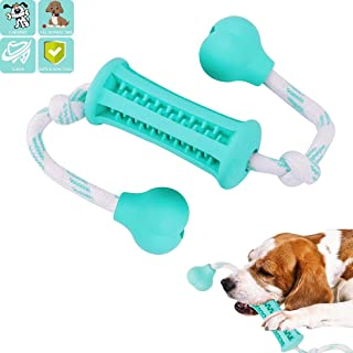 Dog Toys for Small Medium Large Pet/Puppy Chewers Tough Chewing Toy with Washable Cotton Rope & Safety Rubber for Cleaning Teeth Training Playing-Blue …