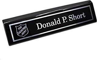 Custom Desk Name Plate with Logo | Personalized Silver Aluminum Engraved Black Wedge | Free Engraving | Custom Name Wedge | Gifts for Professionals