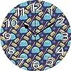 静かな掛け時計見やすい掛け時計壁掛け時計10インチ北極イグルーイラストエスキモー文化アイコンペールブルークォーツパステルブラウンとペールヴァーミリオンサイレントホームオフィスの装飾くすぐり時計オフィス装飾