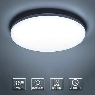 Yafido LED Lámpara de Techo Moderna 36W Plafón Led Redonda Ultra Delgado Downlight Blanco Frío 6500K 3240LM adecuada para Cocina Balcón Dormitorio Corredor Sala de Estar Ø23cm No-Regulable
