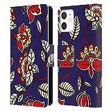 Head Case Designs Licenza Ufficiale Haroulita Blu Rosso Modelli Etnici Cover in Pelle a Portafoglio Compatibile con Apple iPhone 12 Mini