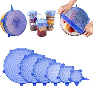 DEEJET 6 Pc Microwave Safe Silicone Stretch Lids Flexible Covers for Utensils, Bowls, Dishes,Plates Jars, Cans, Mugs, Food...