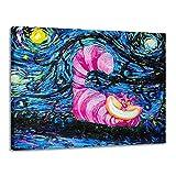 Wandbilder Wohnzimmer Modern Modern Home Decor Hd Ölgemälde Vincent Van Goghs Sternennacht Alice Im Wunderland Cheshire Cat Wonderland-No Frame-40 * 60Cm Leinwand Vlies Wandbild Kunstdruck Wanddeko