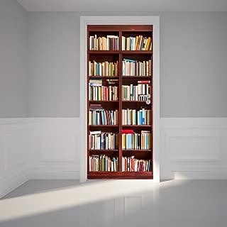 Door Wall Sticker Bookshelf - Self Adhesive Peel & Stick Repositionable Fabric Mural 31