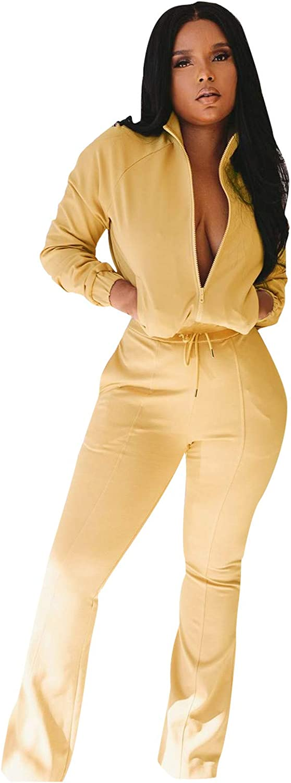 Women's Winter Outfits Casual Long Sleeve Zip Top Sweatshirt with Bell Bottoms Pants Sportswear Jogging Sets
