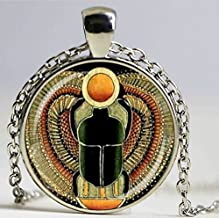 Symbol of Strength, Egyptian Scarab Glass Dome Pendant Necklace, Egypt Jewelry. Charm Women Gift