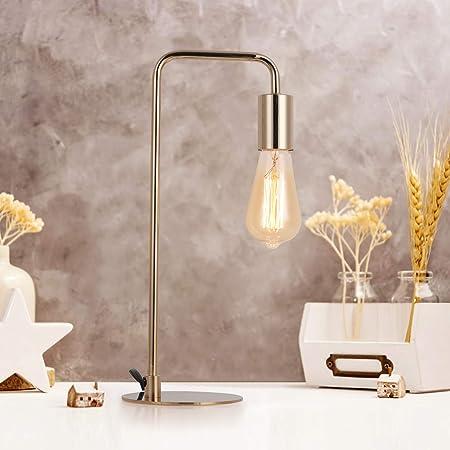 Industrial Table Lamp,Modern Edison Nightstand Bedside Desk Lamp for Bedroom, Guest Room Metal,Gold