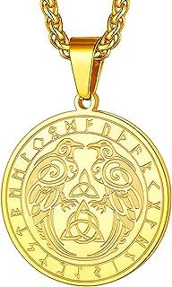 قلادة FaithHeart Norse Viking Thor's Hammer Talisman من الفولاذ المقاوم للصدأ للرجال مجوهرات أصلية قديمة لفايكنغ الشمال خض...