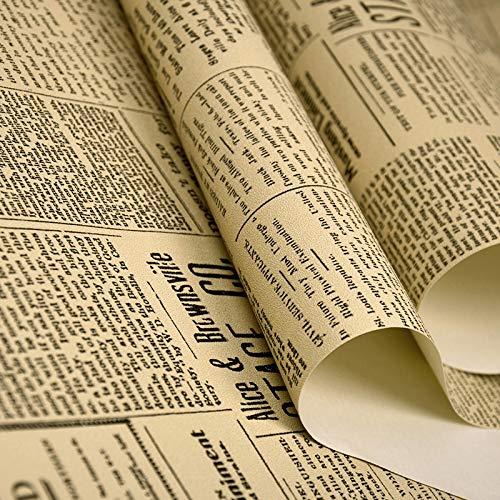 Selbstklebende Tapete Amerikanische retro alte englische Alphabet Zeitung Tapete Bekleidungsgeschäft Bar-Café-Dekor PVC-Wand-Papier Tapete Selbstklebend ( Color : P05502 , Dimensions : 10mX0.53m )