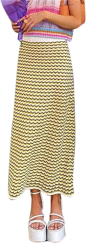 Women's A-line mid-Length Skirt Classic Striped Print high-Waist Half-Length Skirt