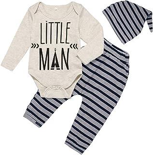 Fall Newborn Baby Boy Clothes Little Man Printed Romper Outfit Jumpsuit+Pants+Hat 3Pcs Set