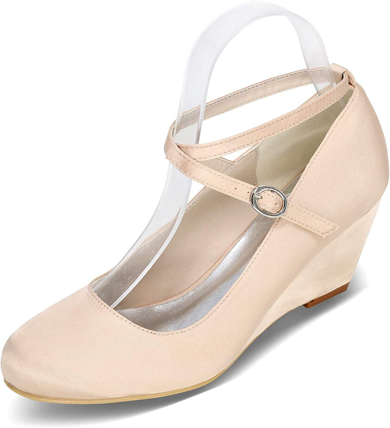 LLBubble Women Chunky Cone Heels Satin Wedding shoes Round Toe Bridal Pumps Buckle Strap Prom Evening Party Dress shoes 9140-09