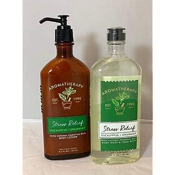Body Works Aromatherapy Stress Relief Eucalyptus Spearmint 10 Oz Body Wash & Foam Bath and 6.5 Oz Body Lotion Bundle (Eucalyptus Spearmint)