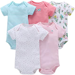 JIAMY Baby Mädchen Kurzarm-Body im 5er Pack Baumwolle Spieler Strampler Schlafanzug Sommer Babybody Spielanzug Schmetterling 12-18 Monate