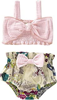 2Pcs Newborn Cute Pink Bow Outfits, Baby Girl Strap Crop Top+Ruffle Shorts Bloomers Summer Clothes Set
