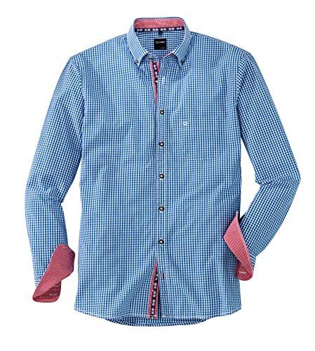 OLYMP Hemd Trachtenhemd Casual Modern Fit blau, Größe L
