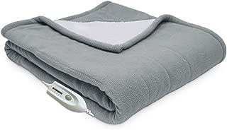 Serta | Reversible Sherpa/Fleece Heated Electric Throw Blanket, Standard, (Gray)
