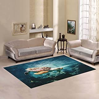 Love Nature Sweet Home Modern Collection Custom Ocean Turtle Area Rug 7'x5' Indoor Soft Carpet